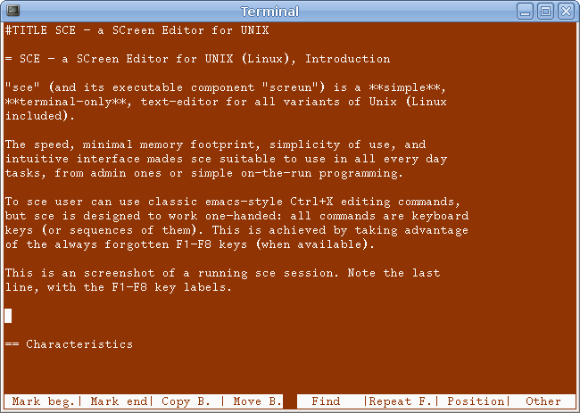 SCE - a SCreen Editor for UNIX
